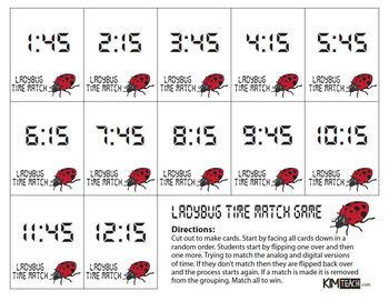 Ladybug Time Memory Match Card Game - QUARTER HOUR