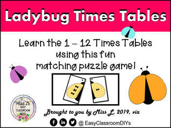 Ladybug Times Tables Matching Activity