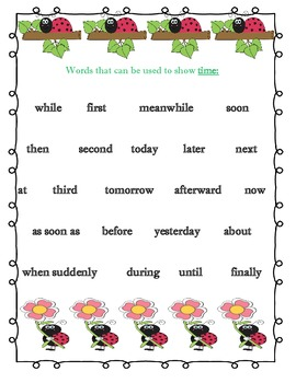 Ladybug Transition Word Posters