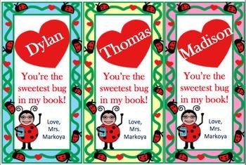 Ladybug Valentine Bookmarks (Editable!)
