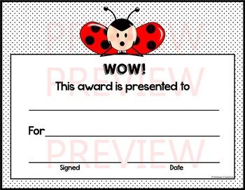Ladybug WOW! Certificate