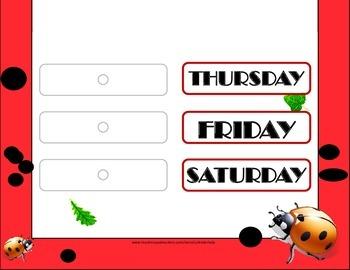Ladybug Weekday Chart! Ladybug Bulletin Board! Ladybug Theme! Lady Bug!