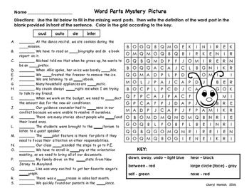 Ladybug Word Parts Mystery Picture