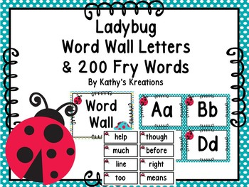 Ladybug Word Wall & 200 Fry Words Editable
