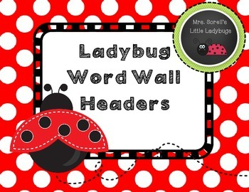 Ladybug Word Wall Headers