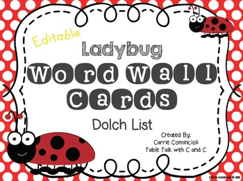 Ladybug Word Wall Packet and Assessment {Editable}