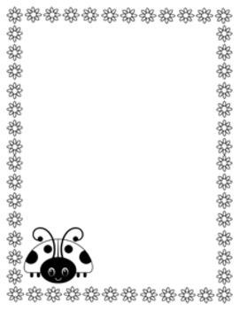 Ladybug Writing Paper - Black and White - 3 Styles