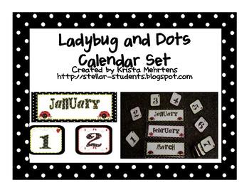 Ladybug and Dots Themed Calendar Set