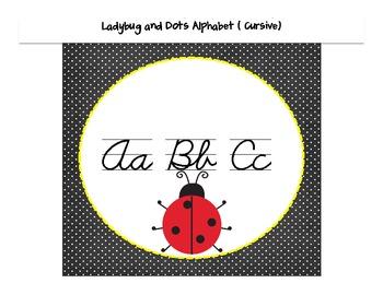 Ladybug and Dots Themed D'Nealian Cursive Wall alphabet
