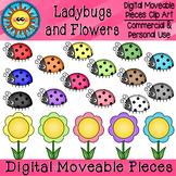 Ladybug and Flowers Digital Moveable Clip Art