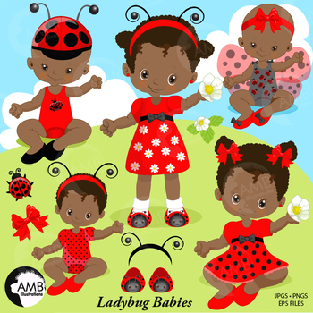 Ladybug Clipart, African American Baby Girls, {Best Teache