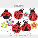 Ladybug clipart - stitched ladybugs clip art, lady bugs, cute, whimsical bugs
