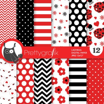 Ladybug digital paper, commercial use, scrapbook papers - PS687
