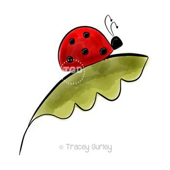 Ladybug on Leaf - ladybug clip art Printable Tracey Gurley Designs
