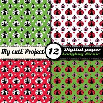 Ladybug picnic DIGITAL PAPER - Red ladybug, hearts, polka dots, gingham - Scrap