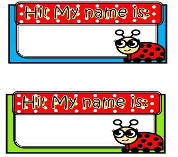 Ladybug tabletop name tags