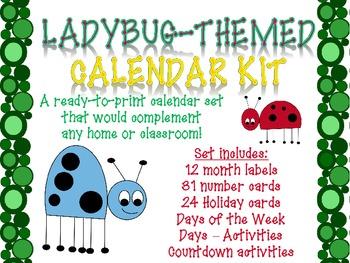 Ladybug-themed Printable Calendar Set