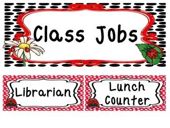 Ladybug themed Printable Classroom Accessories and Decor Bulletin Board Set.