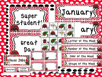 Ladybug themed Printable Classroom Accessories and Decor B