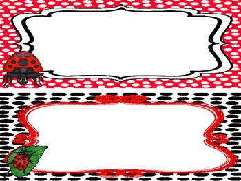 Ladybug themed Printable Name Plates. Class Accessories.
