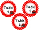 Ladybug themed Printable Table Number Labels. Class Accessories.