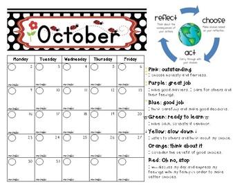 Ladybug themed clip chart and 2017-2018 calendars