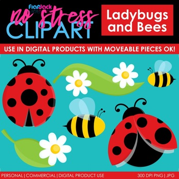 Ladybugs Bees Clip Art (Digital Use Ok!)