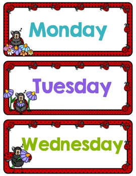 Ladybugs Classroom Decor Theme - Daily Schedule and Calendar