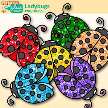 Garden Ladybug Clip Art {Rainbow Glitter Bug & Insect Graphics for Scrapbooking}