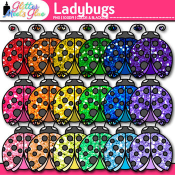 Garden Ladybug Clip Art | Rainbow Glitter Bug & Insect Graphics for Scrapbooking