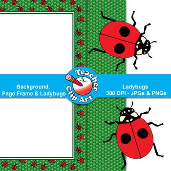 Ladybugs Clip Art — Backgrounds, Page Frames & Ladybugs