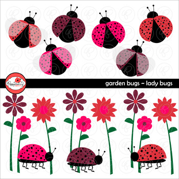 Garden Bug Ladybugs Clipart by Poppydreamz