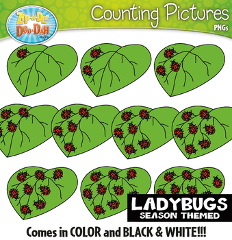 Ladybugs Counting Pictures Clipart {Zip-A-Dee-Doo-Dah Designs}