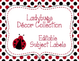 Ladybugs Decor: Editable Subject Labels