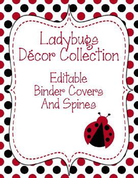 Ladybugs Decor: Editable Binder Covers & Spines