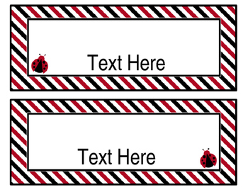 Ladybugs Decor: Editable Nameplates