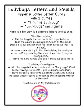 Ladybugs Letters and Sounds