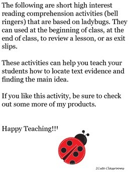 Non-fiction Reading Comprehension Upper Elementary/Middle School: Ladybugs