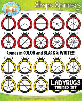 Ladybugs Spinner Shapes Clipart {Zip-A-Dee-Doo-Dah Designs}