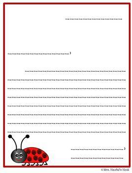Ladybugs Writing Paper