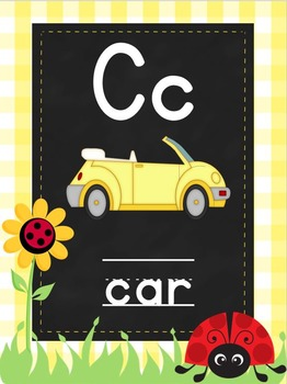 Ladybugs and Daisies Alphabet Posters