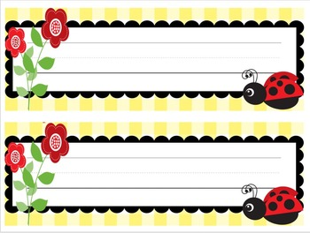 Ladybugs and Daisies Name Plates