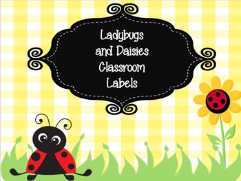 Ladybugs and Daisies Print Rich Classroom Labels