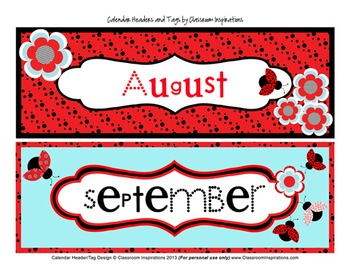 Ladybugs and Dots Calendar Headers and Tags
