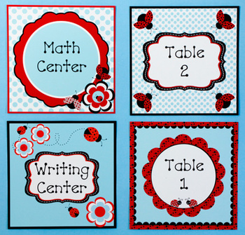 Ladybugs and Dots Center or Table Signs
