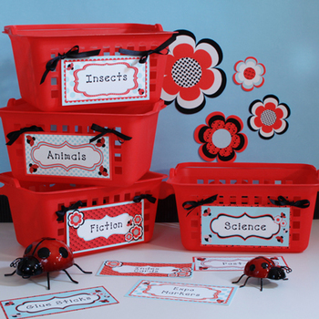 Ladybugs and Dots Book Bin or Multipurpose Labels