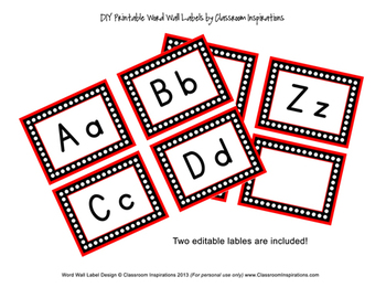 Ladybugs and Dots Word Wall Alphabet Labels