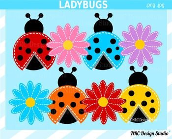Ladybugs and Flowers Clip Art