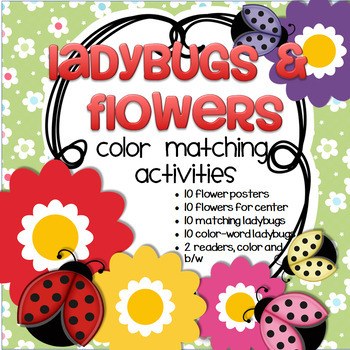 Ladybugs and Flowers Color Matching Center for Preschool