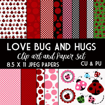 Ladybugs and Love   Digital - Clip Art  Digital Set and Papers 8.5 x 11JPEg